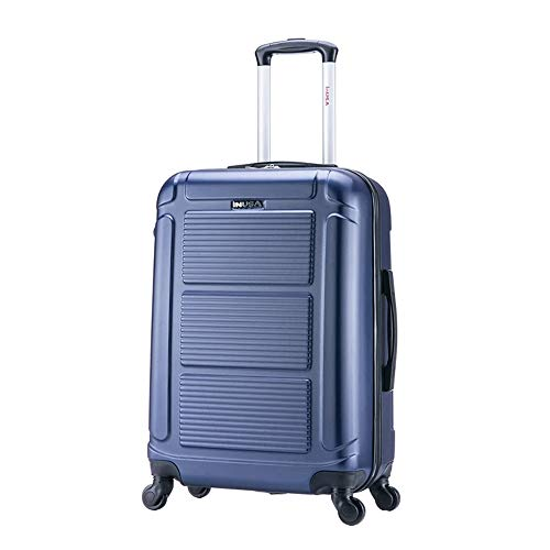 InUSA Pilot 24 Inch Medium Hardside Spinner Luggage with Ergonomic Handles, Travel Suitcase with Four Spinner Wheels and Studs, Blue