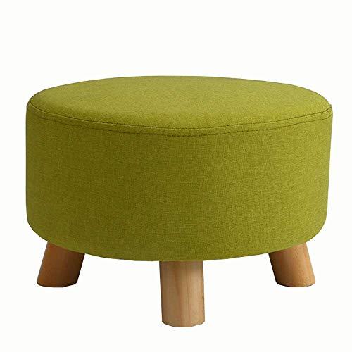 JIEER-C stoelen, gestoffeerd, ottomane, kruk van massief hout, sofa-kruk van stof, afneembaar, wasbaar, comfortabel, ademend, belastbaar tot 200 kg, 42 x 42 x 26 cm (kleur: strepen) Celeste Y Blanco