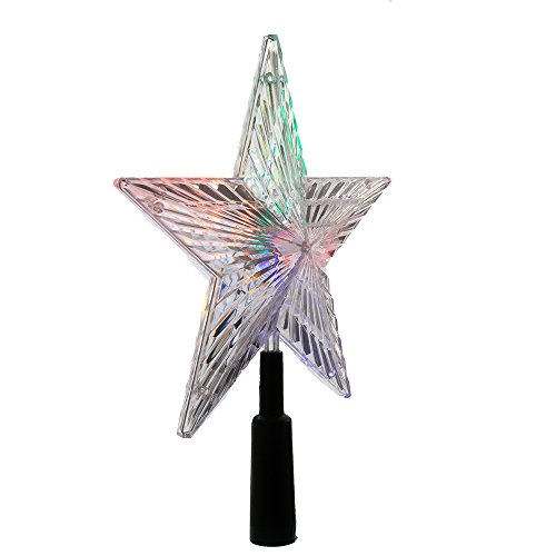 Kurt Adler LED Color-Changing Light Star Treetop, 8.5-Inch