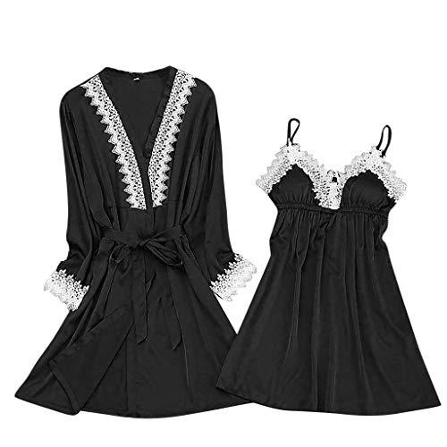 Luotuo Damen Erotik Nachtwäsche Sets Spitze Nachtwäsche Kimono Nachthemd Sexy Satin Dessous Negligee Transparente Nachtkleid Babydoll Lingerie