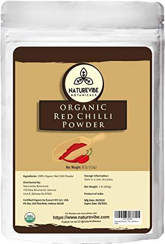 Naturevibe Botanicals Organic Red Chilli Powder 1lbs, Capsicum annuum | Non GMO & Gluten Free | Adds Flavour and Spice