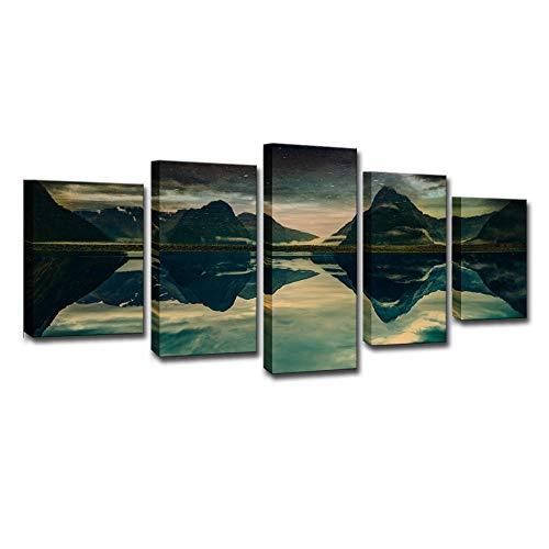 5 Piezas Cuadro en Lienzo Paisaje del valle Impresión de Material Decoracion de Pared Lienzos Moderno Arte Sala Decoración Sin marco 200 X 100 cm