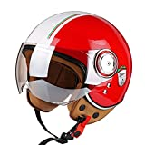 Casco de Cara Abierta para Motocicleta para Adultos Casco de Moto Retro 3/4 Aprobado por ECE de Abierta Casco Jet,para Carreras de Motos Motocross ciclomotor Crucero