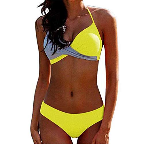 Yutdeng Damen Zweiteiliger Bikini Set Triangel Gedruckt Mid-Taille Bikini Push up Bikinioberteil Badeanzug Strandkleidung Badestrand Trägerloser Abnehmbar Bademode