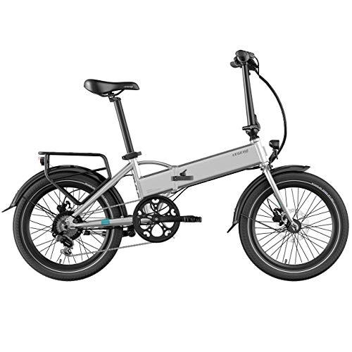 Legend Monza Vélo Électrique Pliant Smart eBike Roues de 20 Pouces Adulte, Freins Disque Hydraulique, Batterie 36V 14Ah Panasonic (504Wh), Argent