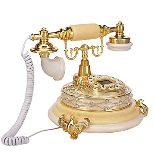 IF.HLMF Adorno de decoración de Escritorio para el hogar con teléfono Fijo de Resina Minimalista Moderno/teléfono con botón pulsador Vintage (Color: Amarillo)