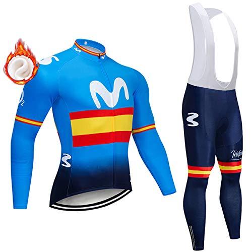 Set da Ciclismo a Manica Lunga con Cerniera Intera Invernale, 3 Tasche Posteriori Abbigliamento da Ciclismo da Uomo