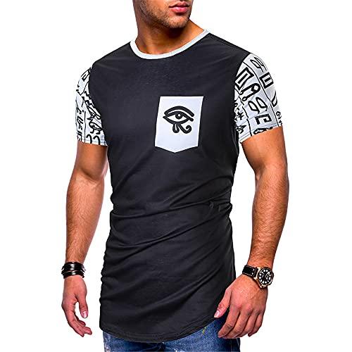 Camiseta Hombre Verano Básica Cuello Redondo Slim Fit Hombre Casuales Camisa Moderna Tendencia Moda Estampado Hombre Manga Corta Casual Cómodo All-Match Hombre Shirt G-Black3 XL