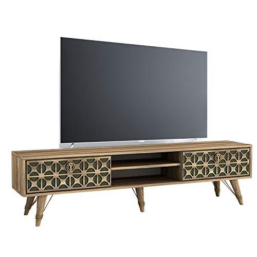 Moebel17 TV Lowboard 4210 Valente XXL Board Schrank - 180 x 46,2 x 29,5 cm - Fernsehtisch Bank aus Holz, Fernseher Board Sideboard, Kommode Anbauwand, Wohnwand in Walnuss Dunkelgrün, Wohnzimmer