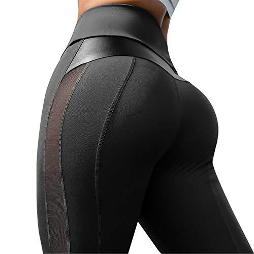 Fliegend Damen Leggings Jogginghose High Waist Yoga Hosen PU Leder Sporthose Mesh Fitnesshose Frauen Elastisch Leggins Skinny Hosen Strumpfhose S