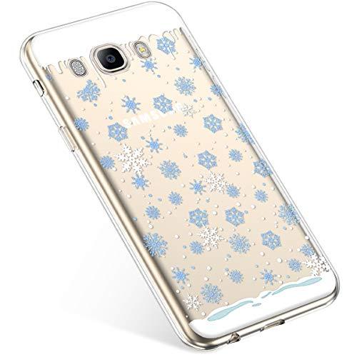 Uposao Kompatibel mit Handyhülle Galaxy J5 2016 Schutzhülle Transparent Silikon Schutzhülle Handytasche Crystal Clear Durchsichtige Hülle TPU Cover Weich TPU Bumper Case,Blau Schneeflocken