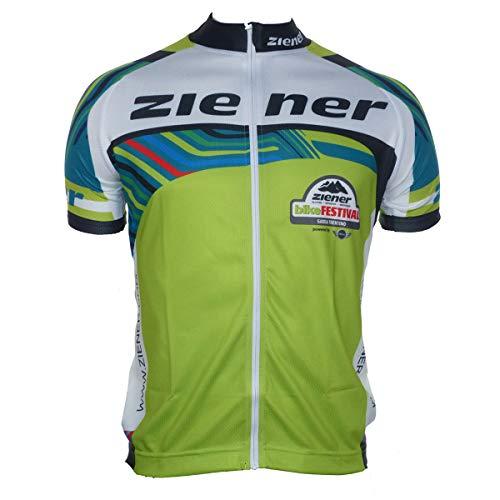 Ziener Team Bike Jersey Herren Fahrradtrikot Fahrrad Trikot mit Front RV 159821G(490 Lime - grün, Weiss, bunt Gemustert,52) Sondermodell Bike Festival Garda Trentino