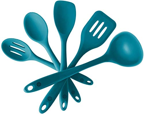 """StarPack Basics Silicone Kitchen Utensil Set (5 Piece Set, 10.5"""") - High Heat Resistant to 480°F, Hygienic One Piece Design Spatulas, Serving and Mixing Spoons (Teal Blue)"""