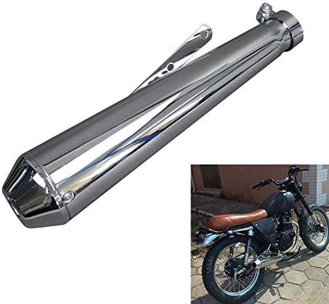 Kkmoon Auspuff Endschalldämpfer 38 45mm Edelstahl Aluminium Universal Auspuff Schalldämpfer Für Motorrad Silber Auto