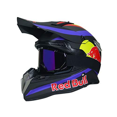 ABDOMINAL WHEEL Cascos de Motocross,Casco Moto Cross Profesional,MúLtiples Orificios VentilacióN Bloqueo RáPido Forro ExtraíBle ECE homologado Red Bull A,L=(59~60CM)