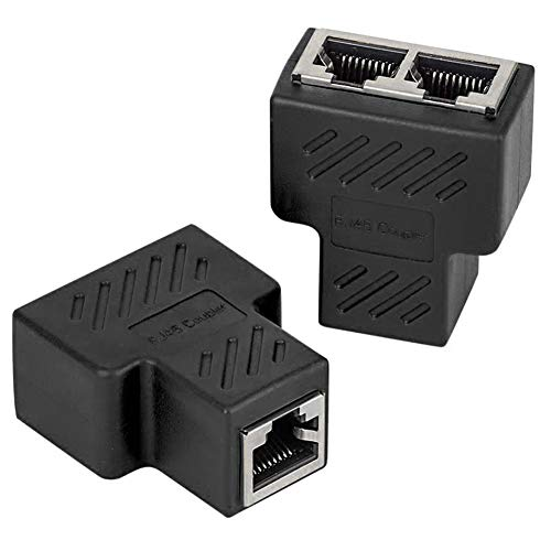 2 Pack Lan Splitter & Verteiler, VANDESAIL LAN Splitter 1 Auf 2, RJ45 Splitter Lan Switch 2Port, Ethernet Splitter Netzwerk Verlängerungen Adapter, Black