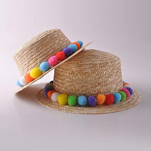 Sombrero de paja BLO Summer Siete de colores arcoíris con bola de peluche, sombreros de sol para vacaciones, ocio, sentimientos frescos, 1, child 48-52cm
