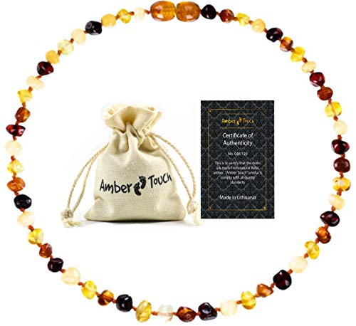 Amber Necklace (Unisex) - Certificated Natural Baltic Amber 13inch.