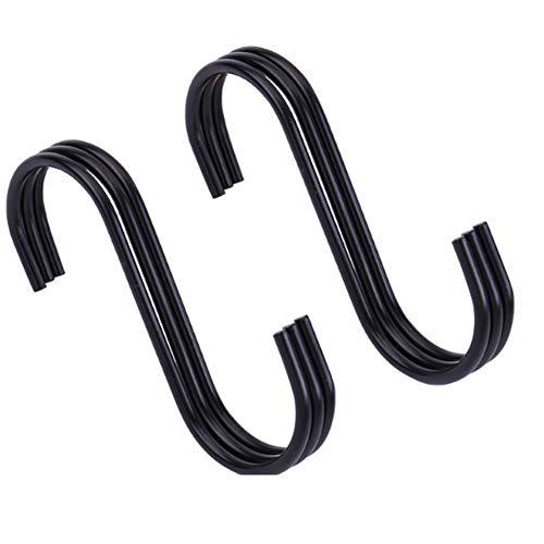 S Shaped Hooks, Heavy Duty Kitchen Hooks, Hangers Closet Hooks, S Hooks voor het ophangen van Keukengerei, Tassen, Handdoeken, Planten, Zwart (6 stuks)