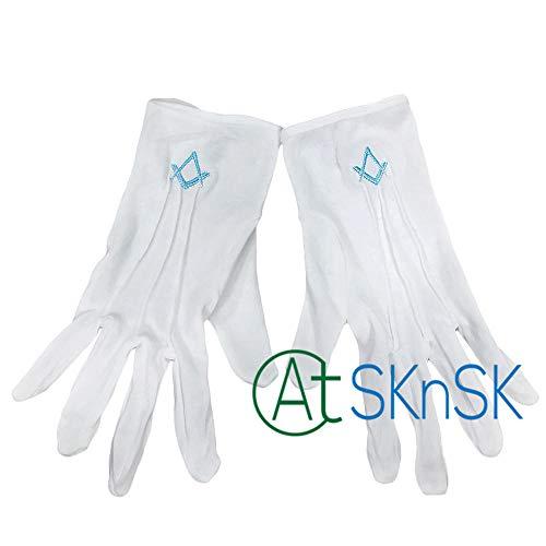 GBSTA Huwelijke Handschoenen 1 Paar Vrijmetselaar Regalia Pure Katoen Witte Vrijmetselaar Handschoenen met Geborduurd Logo Schort Kraag Dropshopping Groothandel Blauw