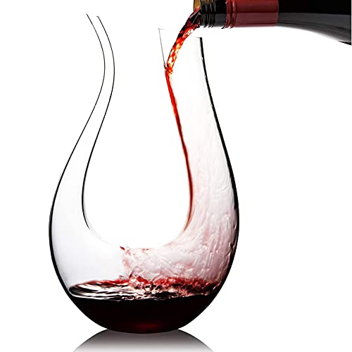 Wine Decanter WBSEos-Amazing U-shaped design can provide powerful ventilation effect. Use 100% lead-free crystal glass, hand-blown red wine Decanter / carafe