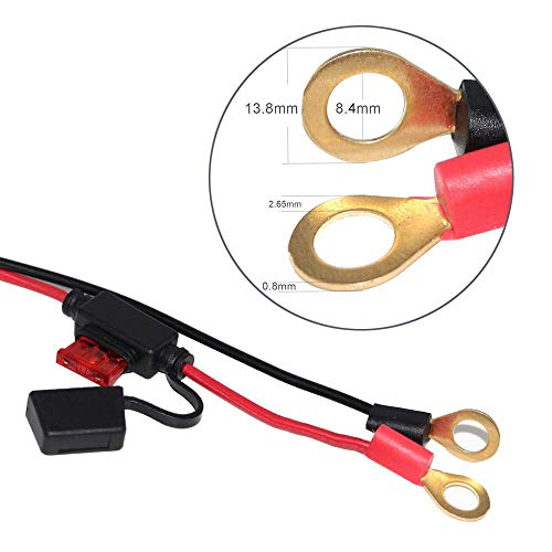 SPARKING 12FT Alligator Clip to Eyelet Ring Terminal Harness with Battery Clamp 12V/24V Battery Clip-On Cable for Power Inverter