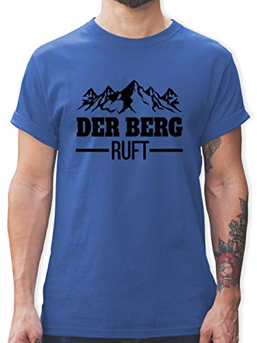 Après Ski - Der Berg Ruft - schwarz - M - Royalblau - Tshirt der Berg Ruft - L190 - Tshirt Herren und Männer T-Shirts