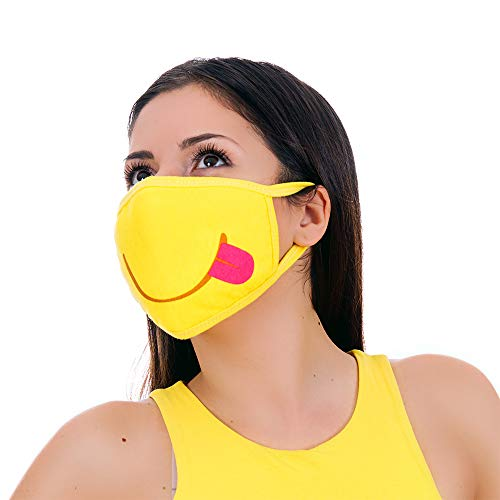 MojiGear Tongue Out Premium Cotton Pollution Filter Face Mouth Mask Emoji Respirator Unisex Anti-Dust Shield Mask Muffle for Teens Men Women Yellow