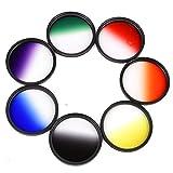 Yunchenghe Set di filtri colore per obiettivi fotocamera, Filettatura da 62 mm, Include Arancione/Rosso / Giallo/Grigio / Blu/Verde / Porpora -7 Pezzi