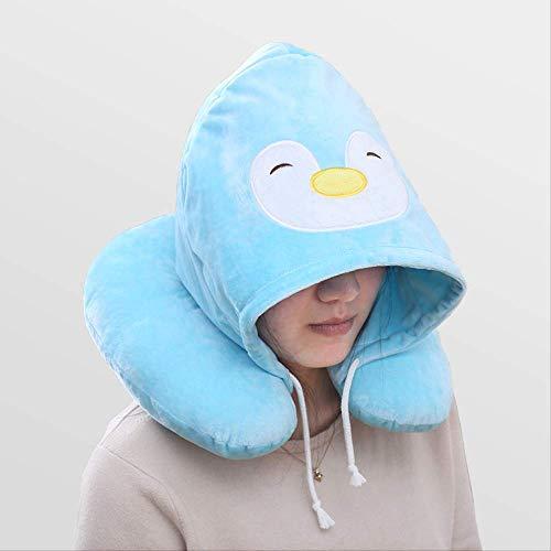 Almohada creativa para el cuello de dibujos animados almohada en forma de u con gorro almohada cervical viaje de viaje almohada para el cuello con capucha almohada para la siesta de la oficina azul