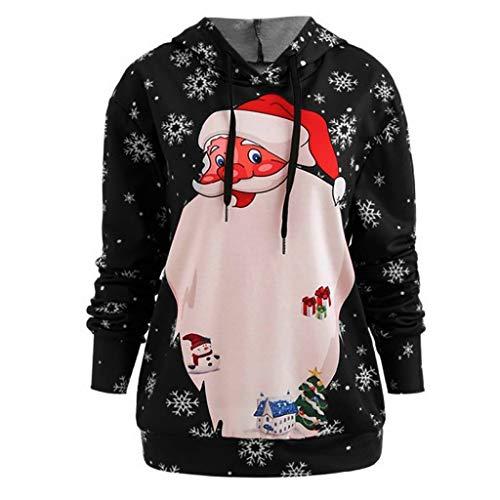 LoveLeiter-Weihnachten Kapuzenpullover Damen Langarm Weihnachtspullover Sweatshirt Langarm Santa Drucken Christmas Hoodie Kapuzen Oberteil Weihnachtspulli Loose Longpullover Mantel