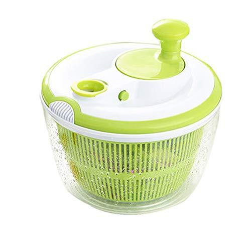 Ensaladera y centrifugadora para ensaladas grandes - Lavadora y secadora de lechuga con lechuga de 5L con ensaladera grande y colador de plástico, lavado de frutas y verduras y ensalada, sin BPA