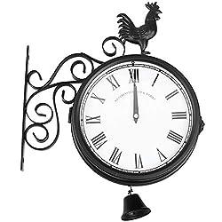 Binchil Outdoor Garden Wall Station Clock Double Sided Cockerel Vintage Retro Home Decor