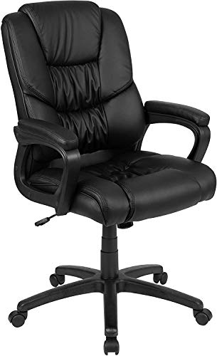 Flash Furniture Flash Fundamentals Big & Tall 400 lb. Rated Black LeatherSoft Swivel Office Chair with Padded Arms