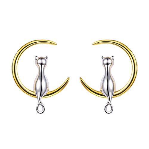 Gato y luna pendientes circulares de muchachas luna completa joyería plata de ley para mujeres...