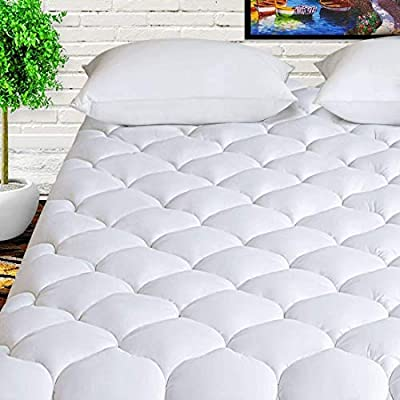 """HARNY Cooling Mattress Pad Cover Pillow Top 400TC Cotton Breathable Mattress Topper Quilted Fitted with 8-21"""" Deep Pocket"""