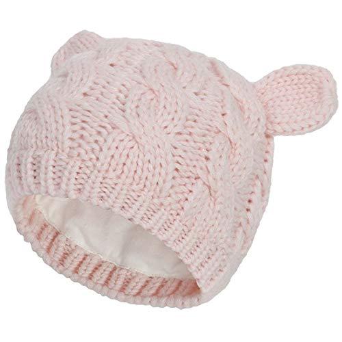 Yixda Neugeborene Baby Mütze und Handschuhe Set Kleinkind Winter Strickmütze Hüte (Rosa 1, 0-3 Monate)