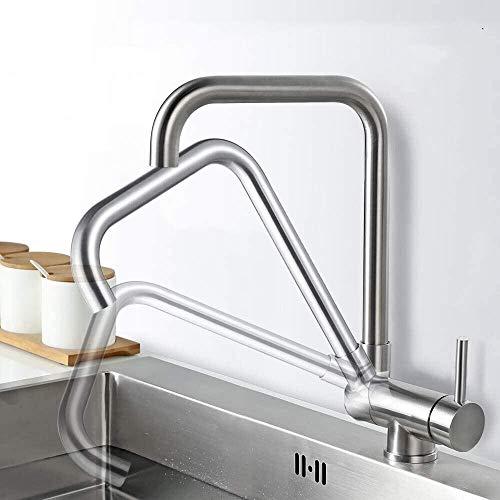 AiHom Wasserhahn Küche 360° Schwenkbar Küchenarmatur Vorfenster Armatur für Küche Mischbatterie drehbar Einhandmischer Vorfenstermontage aus Edelstahl Spültischarmatur Matt
