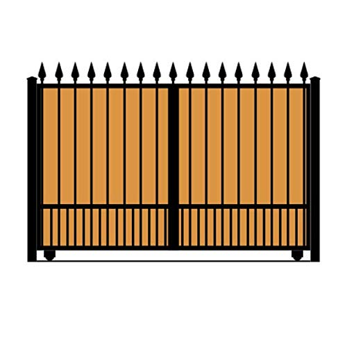 StandardGates - Wooden Wrought Iron Driveway Gate Kit - 10 ft 0 in, Solo Slide, Puppy Pickets, Vertical Ironwood, Finials