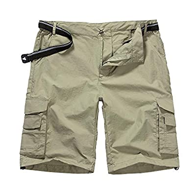 Men's Outdoor Casual Expandable Waist Lightweight Water Resistant Quick Dry Cargo Fishing Hiking Shorts (6013 Khaki 30)