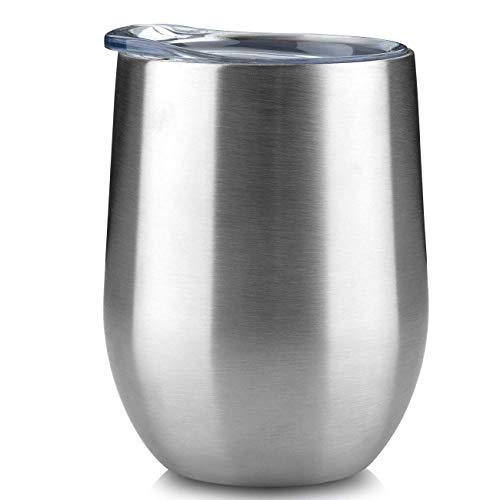 mingyu Wiederverwendbare Non-Trump Cup, 12 Unzen Edelstahl doppellagigen Vakuum Kaffeetasse, Rotweinglas, Bierglas, für Männer und Frauen mit Abdeckung 12,8 x 9,6 x 9,4CM 12,8 x 9,6 x 9,4 cm Farbe