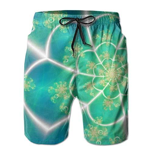 OMNHGFUG Pantalones cortos de playa para hombre, diseño de trébol fractal, estilo casual, ajuste clásico, con cordón, pantalones cortos elásticos de verano con bolsillos