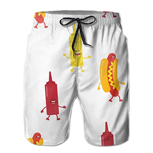 Ye Hua Costumi da Bagno Hot Dog Bottiglie Senape e Ketchup Costumi da Bagno Estivi per Le Vacanze estive Quick Dry L