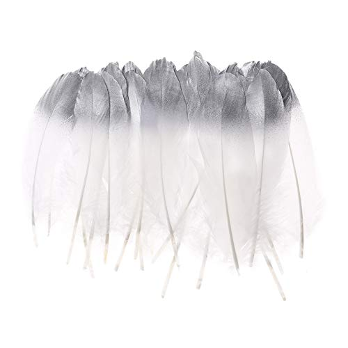 50pcs Dipped Gold & Silver Goose Feathers 6-8 inch Natural Feather for a Variety of Crafts and Apparel (Silver&White)