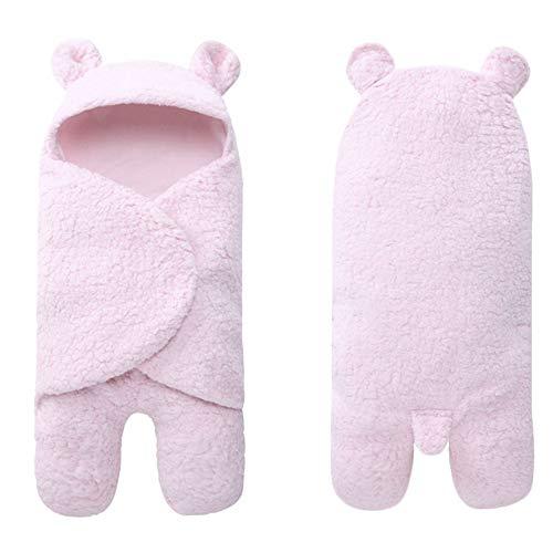 Manta de forro polar con capucha para bebé recién nacido, apta desde el nacimiento hasta los 10 meses, 100% algodón (rosa)