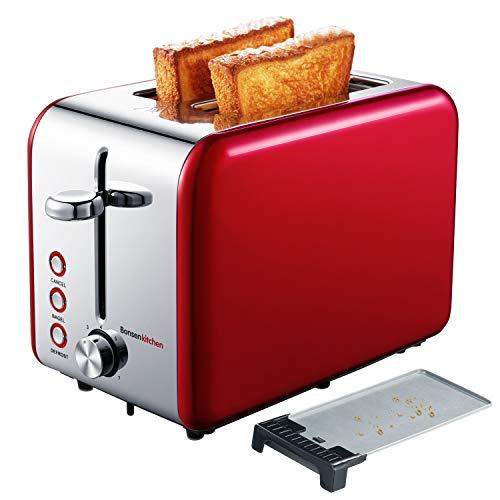 Bonsenkitchen 2 Slice Red Toaster, Extra Wide Slot 5.5