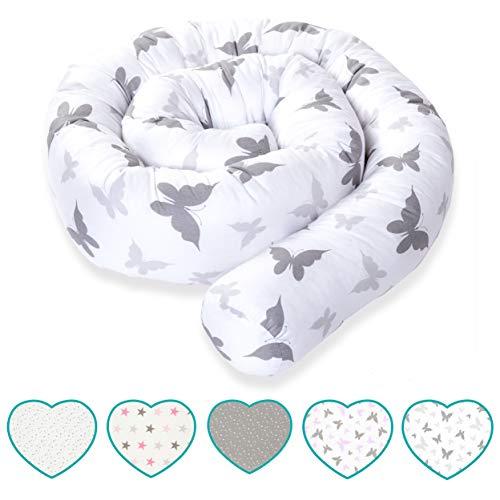 mimaDu Bettschlange, Nestchen, Bettrolle (210x10 cm), Bettumrandung für Baby- und Kinderbett - weich und kuschleig- OEKO-TEX zertifizierte Baumwolle - (hellgrau-grau Schmetterling)