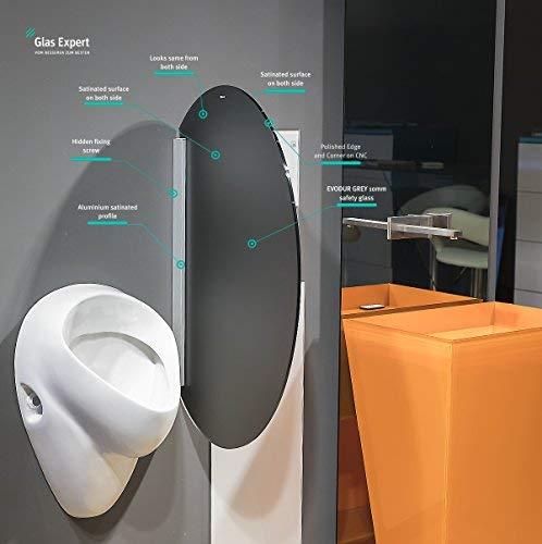 Glas Expert | Glas Urinal Trennwand | 45cm x 80cm | Urinal Glaswand | Bidet Toiletten Schamwand | Glas WC Trennwand (Grau Satin S3)