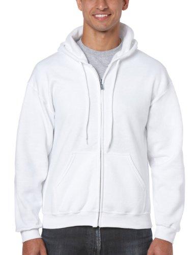 Gildan Herren Adult 50/50 Cotton/Poly. Full Zip Hooded Sewat Sweatshirt, Weiß (White), Medium (Herstellergröße: M)