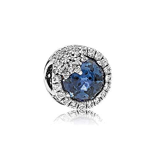 Pandora 925 plata esterlina colgante DIY Hot Beads Sparkling Cerise Blue Snowflake Charms Fit Original Pulseras Joyería de las Mujeres